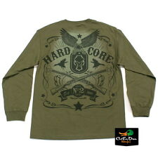 NEW HARD CORE BRANDS HC BLACK LABEL LOGO L/S DUCK HUNTING T-SHIRT OLIVE 2XL