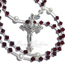 Garnet January Birthstone Catholic Prayer Rosary Beads w/Crystals from Swarovski