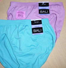 2 Bali Hi Cut Panty Nylon Womens Soft Seamless No Ride Up Size 6/7 Pink Blue NWT