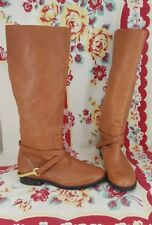 Ralph Lauren Jenny Leather Tall Riding equestrian Boots POLO TAN 5.5 Womens EUC