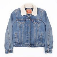 Vintage LEVI'S Blue Padded Casual Fitted Denim Jacket Womens Size Small