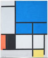 PIET MONDRIAN COMPOSITION LARGE BLUE RED ART PRINT ON REPRODUCTION CANVAS 20X24