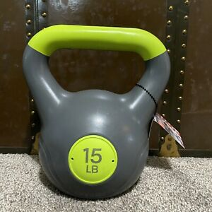 New TKO 15 lb Kettlebell Fitness Weight Lifting Gray Green 15lb Cement Filled