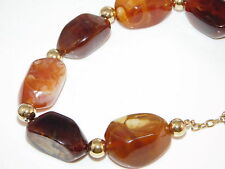Chunky Golden Brown Amber Tortoise Bead Gold Necklace extender 8L 10