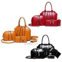 4 PCS/Set Ladies Women Leather Handbag Shoulder Bag Satchel Clutch Tote Purse
