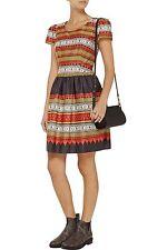 Temperley London Women's Red Marlene Printed Cotton Dress Size 16  RRP £385  ##