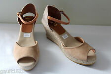 NEW! Kanna Beige Woven Suede Leather Espadrille Wedge Spanish Sandals 40 10 $178