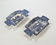 Early 19th Century English Staffordshire Pottery Blue Willow Pickle Dishes - Pt