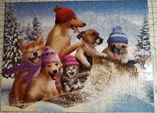 Winter Fun 300 Piece Jigsaw Puzzle by SunsOut Dogs on Sled VG