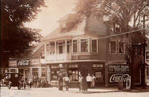 Coca-Cola postcard old car gas pump Tonimicut Pharmacy unused mint