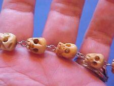 """Custom Hand Carved SKULLS Religious Rosary Bracelet St BENEDICT Saint Medal 8.5"""""""