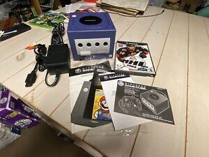 Nintendo GameCube Indigo Console (DOL-001) w/ Cables, Memory, And Game
