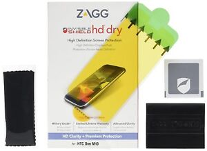 ZAGG InvisibleSHIELD High Definition Dry Screen Protector for HTC One M10 NEW