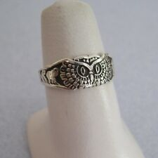 Taxco Silver Good Luck OWL Elephant Evil Eye Horse Shoe 4 Leaf Clover Ring Sz  6
