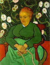 Oil painting Vincent Van Gogh - Old woman porrait seated with flowers canvas