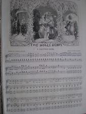 Old music sheet The Holly Berry Thomas Miller John Barnett 1849
