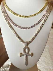 4mm Solitaire Tennis necklace Yellow,Gold & Rose Gold with ankh cross set of 3