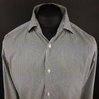 HUGO BOSS Mens Shirt 42 16.5 (LARGE) Long Sleeve Black Regular Fit Striped