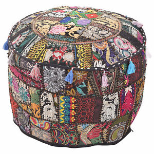 Bohemian Decor Vintage Handmade Ottoman Ethnic Cover Indian Pouffe Foot Stool