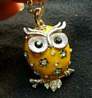 collana con pendente gufo smalto giallo old in stock - owl design pendant