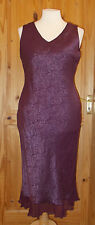 MONSOON Purple SILK jacquard paisley long maxi wedding party evening dress 16 44
