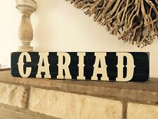 CARIAD Welsh Sign Wales Love Gift Vintage Style Sign Old Handmade Pub BBQ