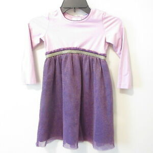 Hanna Andersson Purple w/gold SPARKLES Lined Tulle Dress Sz 110 cm 5 US