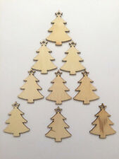 9 WOODEN CHRISTMAS TREES-DECORATIONS XMAS EMBELLISHMENTS-6.5cm-CARD MAKING-WOOD