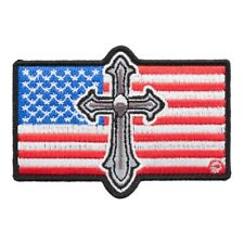 Silver Cross American Flag Patch, Patriotic US Flag Patches