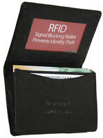 Black RFID Blocking Leather Mens Wallet Expandable Credit Card ID Holder New