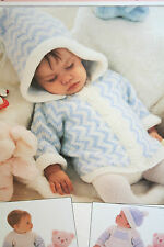 Baby's Hooded Cardigan, Dress, Jumper, Pants and Hat Knitting Pattern