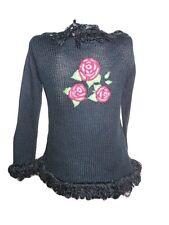 Hennes Mauritz H&M Vtg 80s Knit Casual Embroider Frill Black Cardigan sz M/L Y3