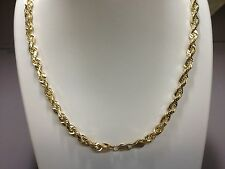 """14KT Solid Gold Diamond Cut Rope Chain Necklace 24"""" 4 mm 30 grams"""