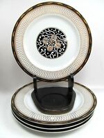 """4 ROYAL TAPESTRY by Georges Briard 7 1/2"""" Salad Plates  Black Gold Pristine"""