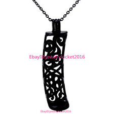 """-H209 18"""" Black Necklace Tube Long Pearl Beads Cage Open Locket Pendant"""