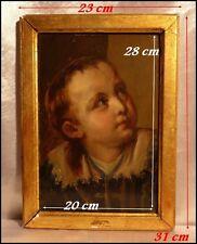 Portrait d'un Bel Enfant à la Croix d'or Ecole Française du XIXe Huile encadrée