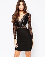 Lipsy Michelle Keegan Black Sequin Embellish Bodycon Party Short Mini Dress Sz 8