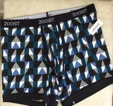 2(x)ist Men's No-Show Lo-Rise Trunk Geometric Print Pattern Black (L) NWT $28