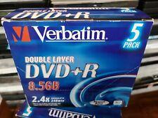 Verbatim Double Layer DVD+R 8.5GB 240 min 5 X DVD Pack