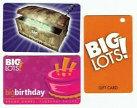Big Lots Gift Card LOT of 3 - Treasure Chest, Cake - Collectible / No Value