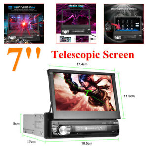 7'' Touch Android10.0 HD 1DIN Player Telescopic Screen Car Carplay FM Radio WIFI