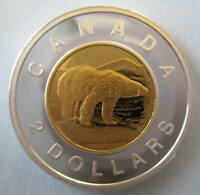 CANADA 2012 $2 GOLD PLATED 99.99% PROOF SILVER TOONIE HEAVY CAMEO COIN