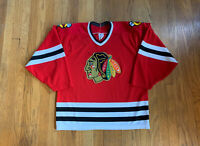 Chicago Blackhawks Vintage 90's Maska Air Knit CCM Red Jersey Mens M Rare NHL