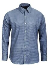 """Four Seasons"" Mens Custom Fit Navy/White Gingham Style Shirt - Size Large"