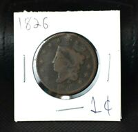 1826 Coronet Head Large Cent~Scarce~VG-F~Make Us An Offer!
