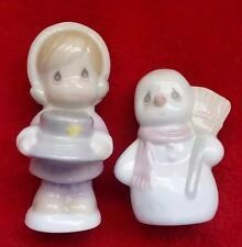 Vintage Precious Moments Salt & Pepper Shakers S&P Holiday Christmas Snowman