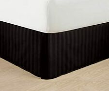 """Wrinkle Free - Egyptian Quality Stripe Bed Skirt - Pleated Tailored 14"""" Drop and"""