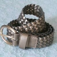 Rolfs Gold Tone Buckle - Woven Faux Leather Women's Belt Size Large