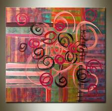MODERN ABSTRACT LARGE OIL PAINTING ON CANVAS 80 x 80 FRAMED WALL ART