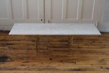Mid Century Modern Long Travertine Marble Faux Bamboo Brass Coffee Table Italian